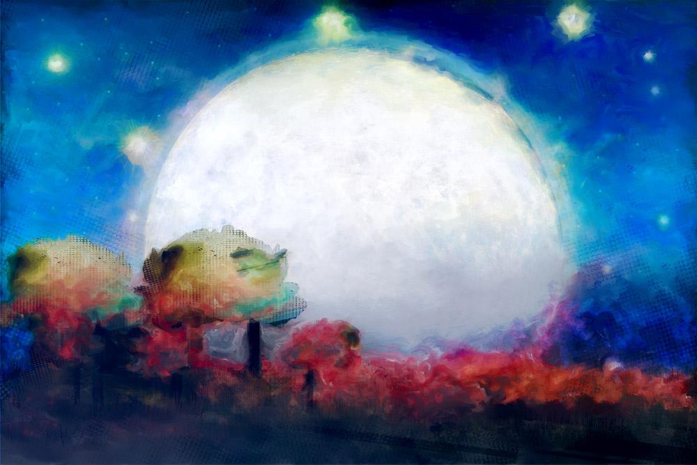 Digital Painting Mixed Media – Full Moon