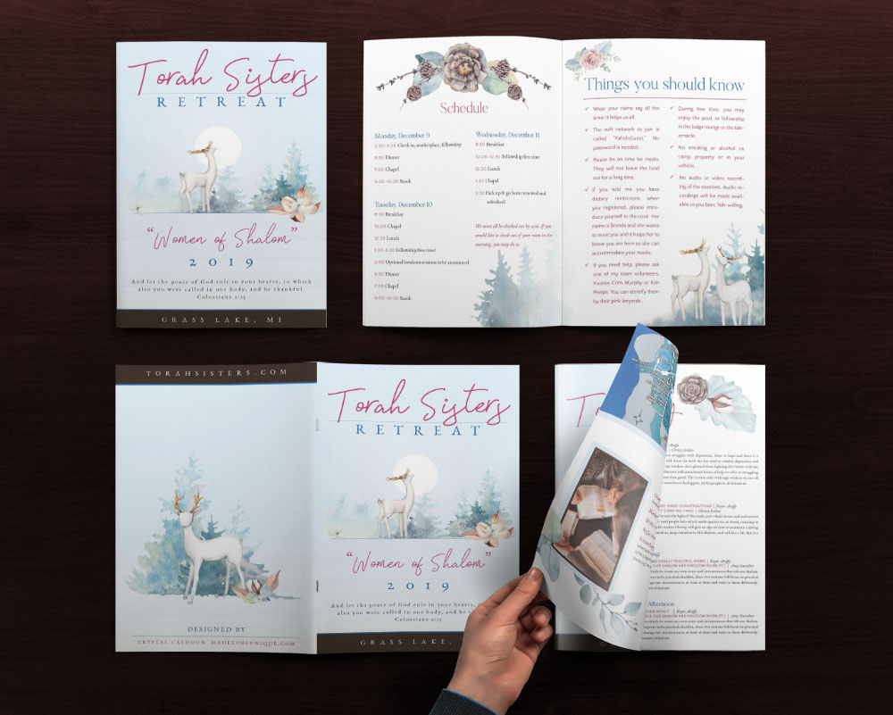 Custom Brochure Design for Camp Retreat – Torah Sisters