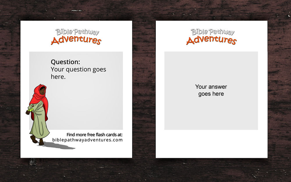 custom bible quiz flash card template
