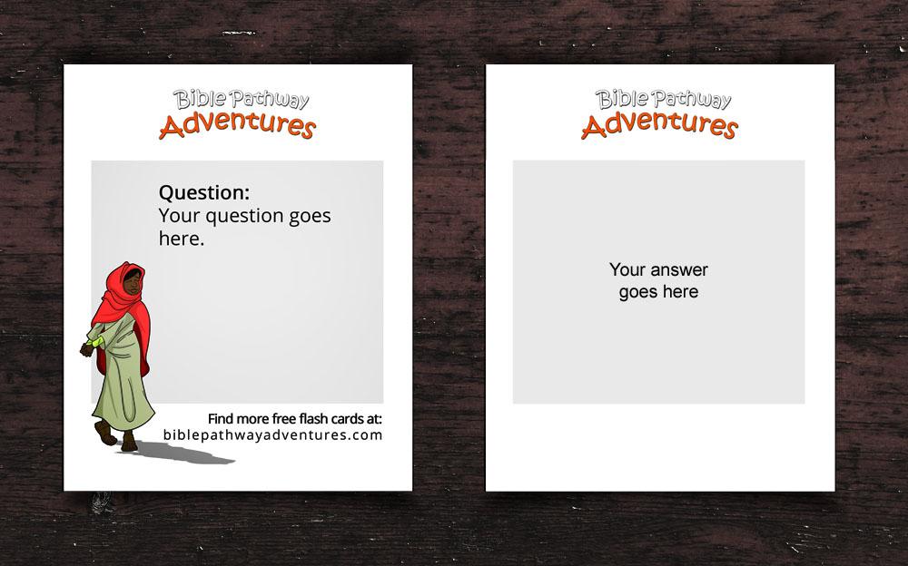 custom bible quiz flash card template