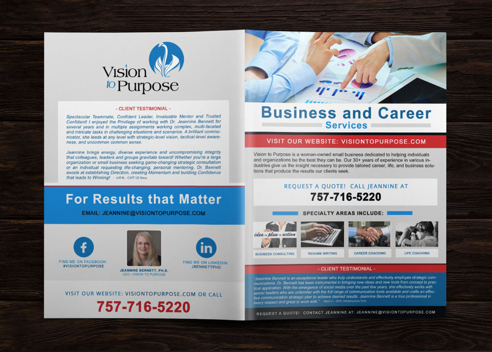 Custom Brochure Design 4 Page Consulting Firm
