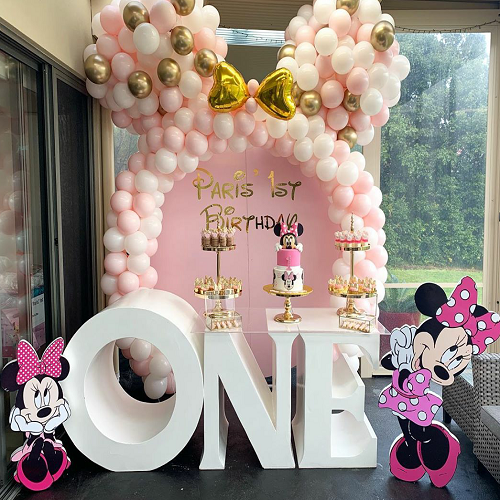 Pink Gold Mickey Mouse Balloon Birthday Party Arch