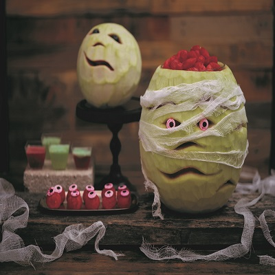 Peeled mellon carved for holloween