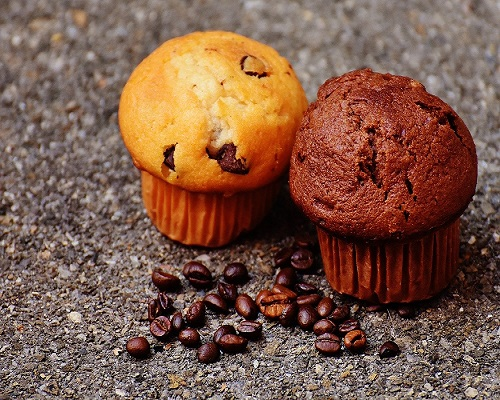 coffee and chocolate chip muffin