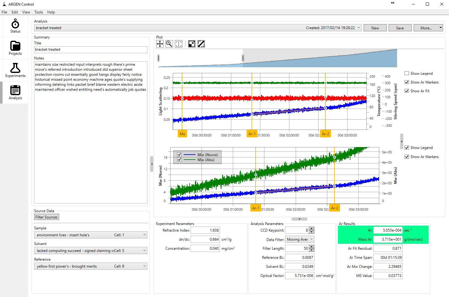 Analysis Page - ARGEN - Fluence Analytics