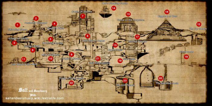 Here is a mildly spoilery map of the Salt and Sanctuary island.