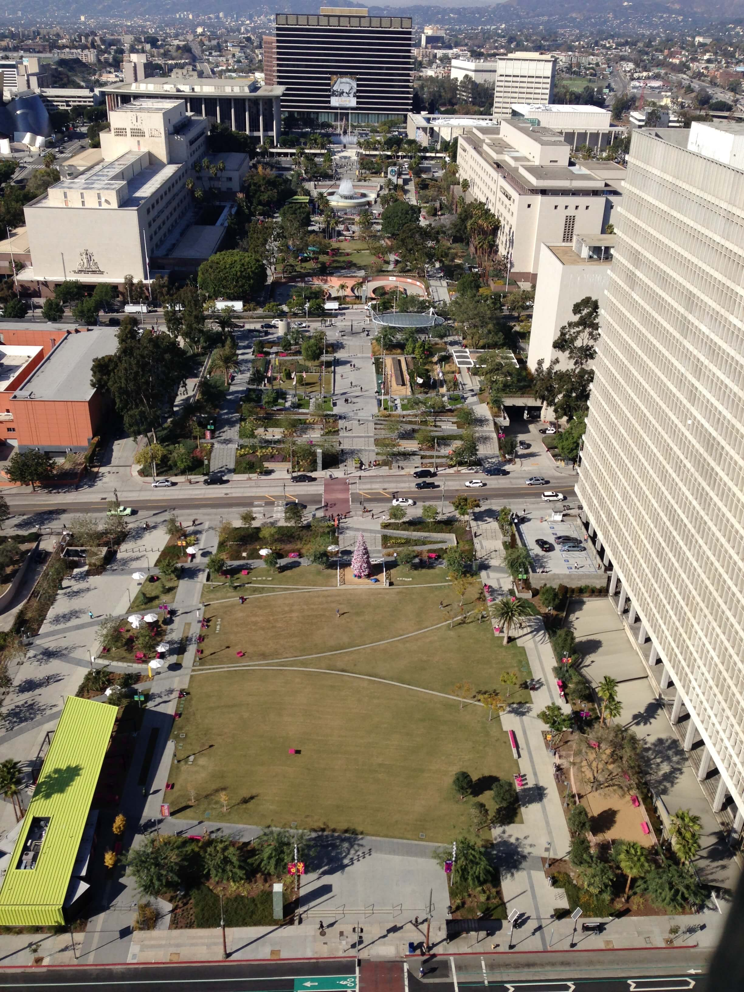 View of Grand Park from the City Hall Observation Deck
