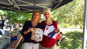Winner of the pie contest,  Janet Kozusko.  She received a signed copy of Meringue, written by one of my fellow judges and resident of the neighborhood, Linda Jackson.  Janet said she'd been trying to replicate her mother's apple crumb pie for years.  Looks like she succeeded!