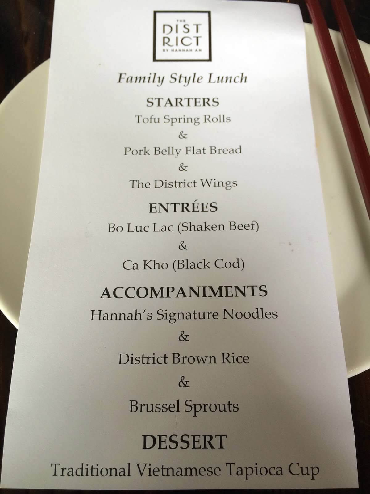 Our family-style menu. Every item was a winner!