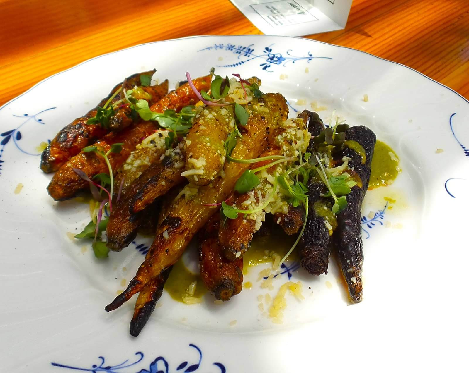 Charred Carrots, green sauce, parmesan