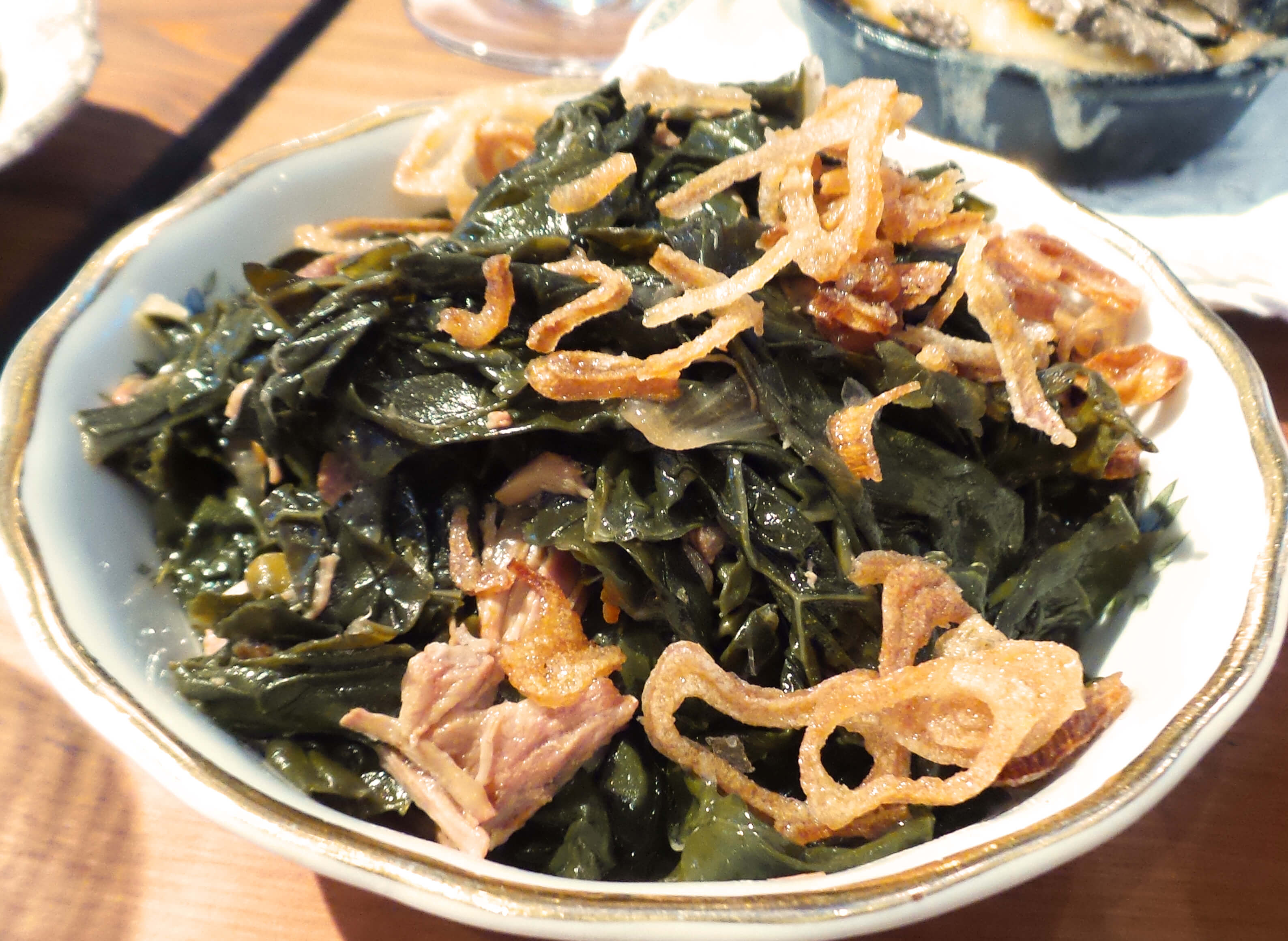 Braised Kale--Smoked Ham, Crispy Shallots