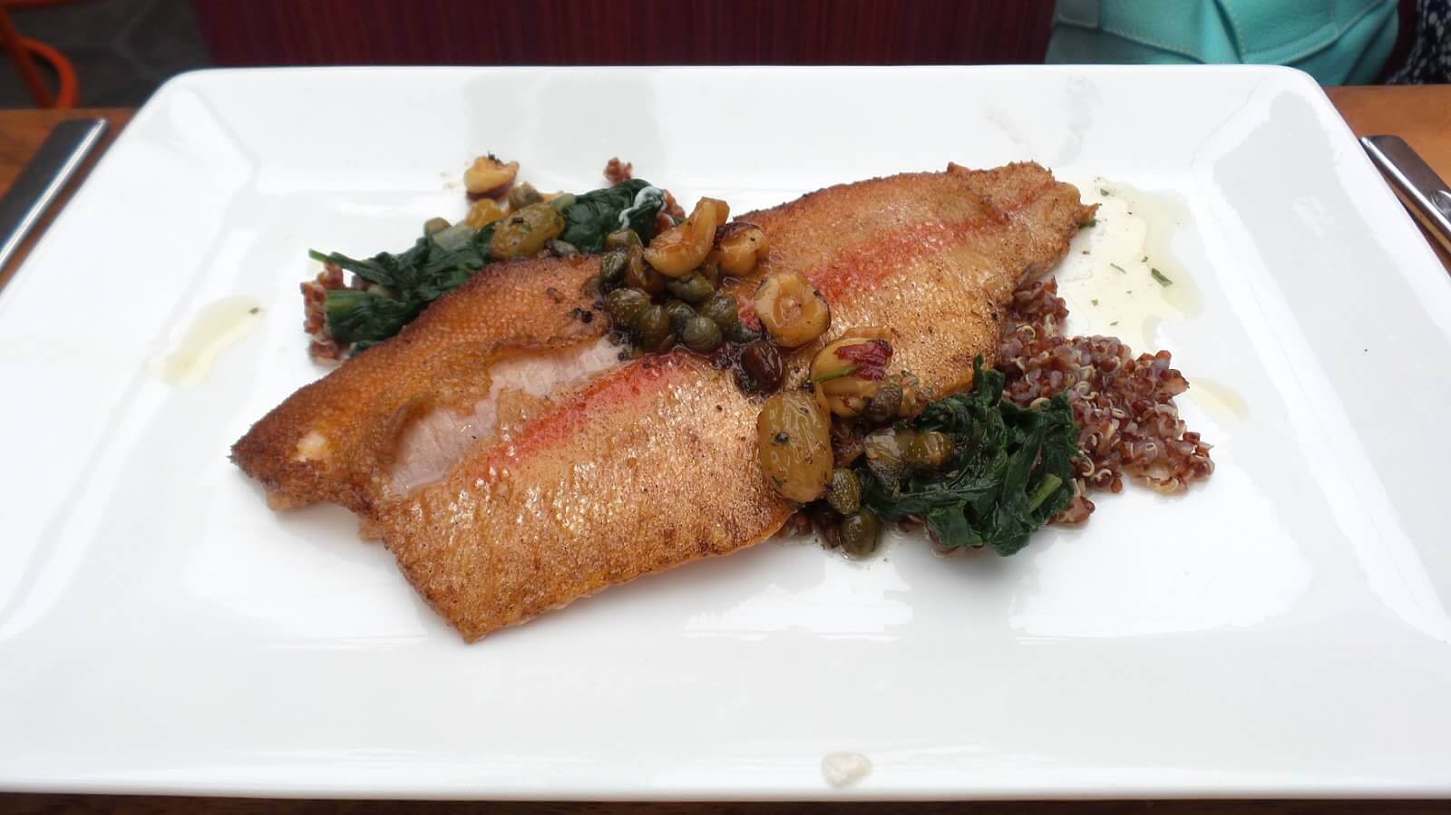 Entree---Wyoming Golden Trout. sultana raisins, orengon hazelnuts, spinach, quinoa, brown butter