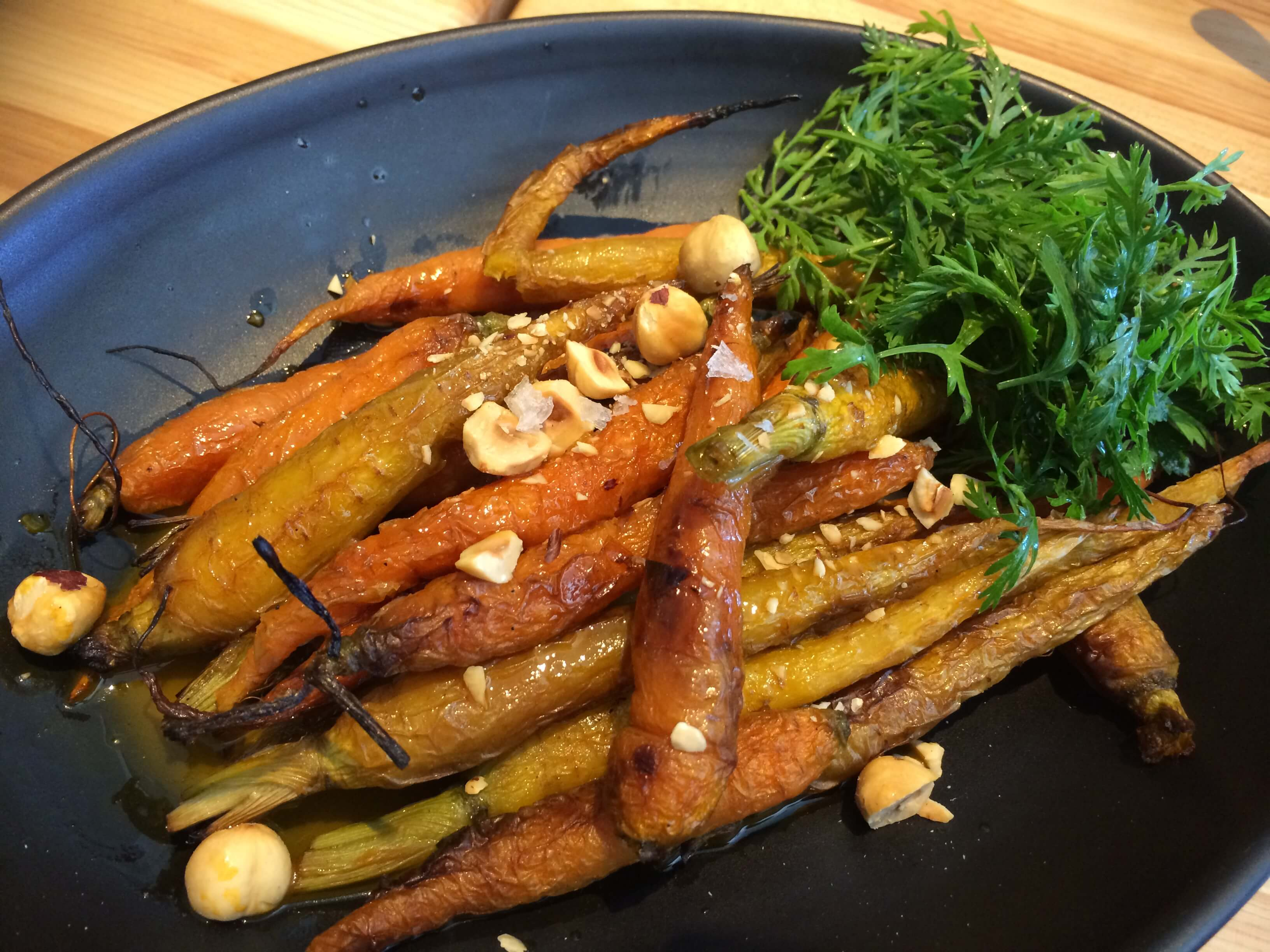 Roasted Carrots, Chamomile Carrot Jus, Carrot Top Salad, Hazelnuts