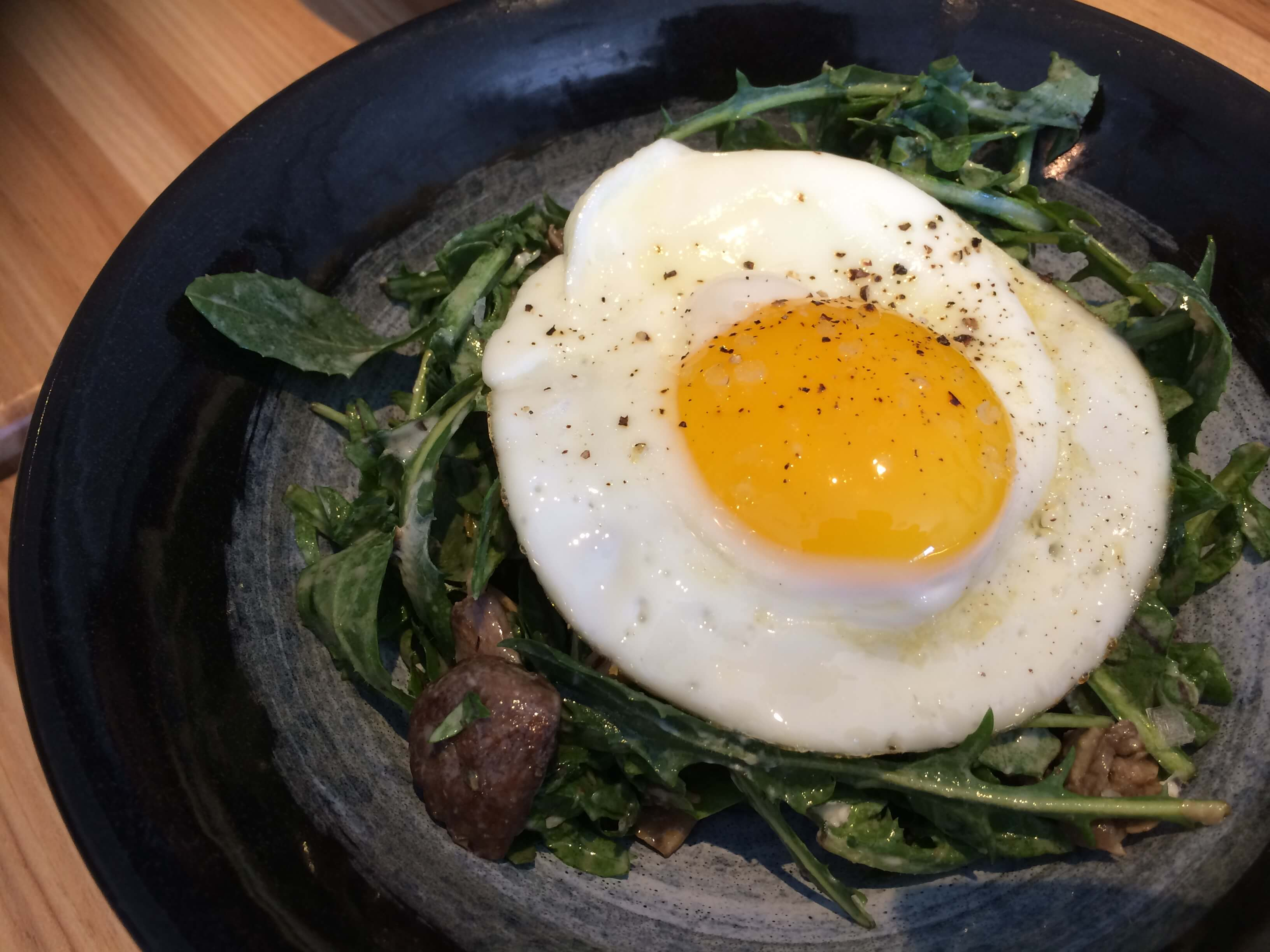 Roasted Mushroom Salad, Dandelion Greens, Savory, Goat cheese, Sunny Egg