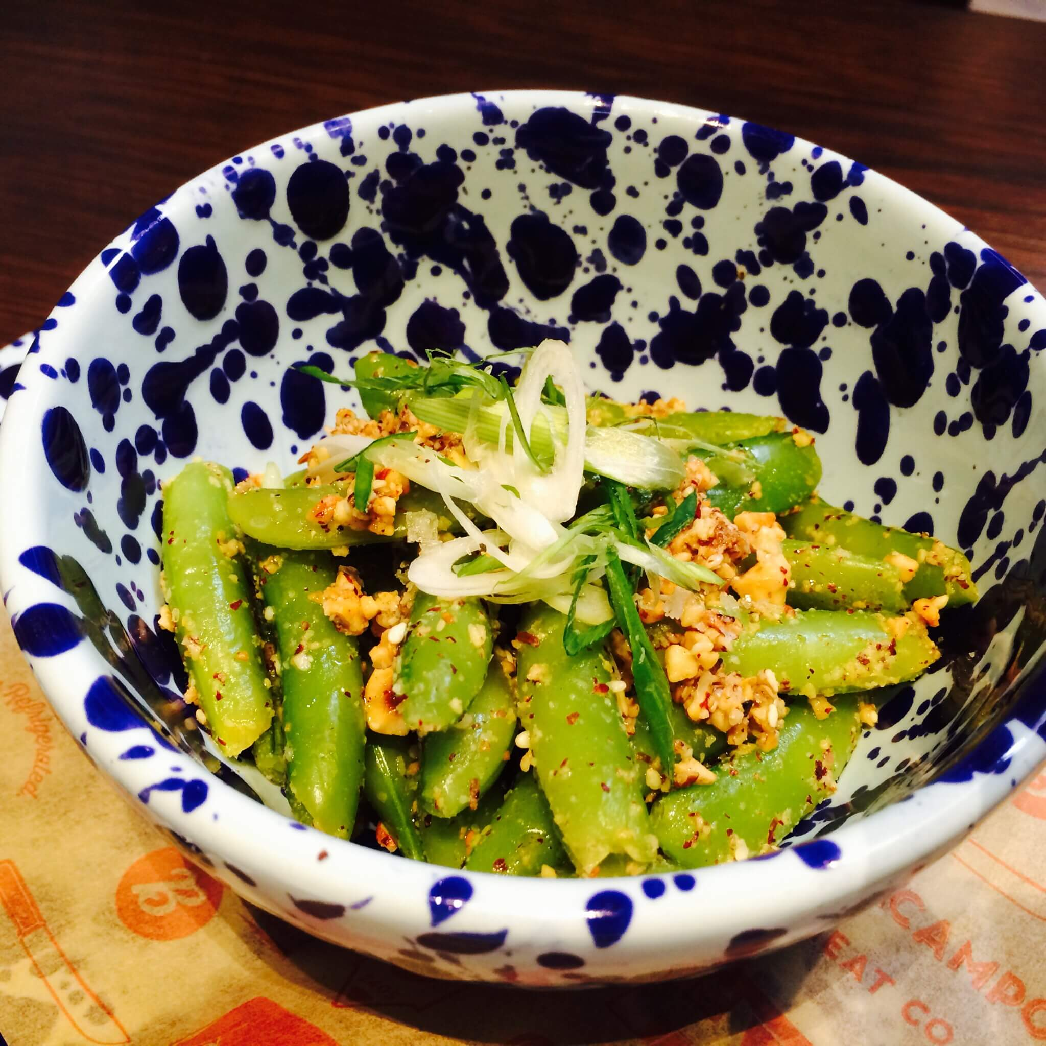 GRILLED SUGAR SNAP PEA-With hazelnut dukkah