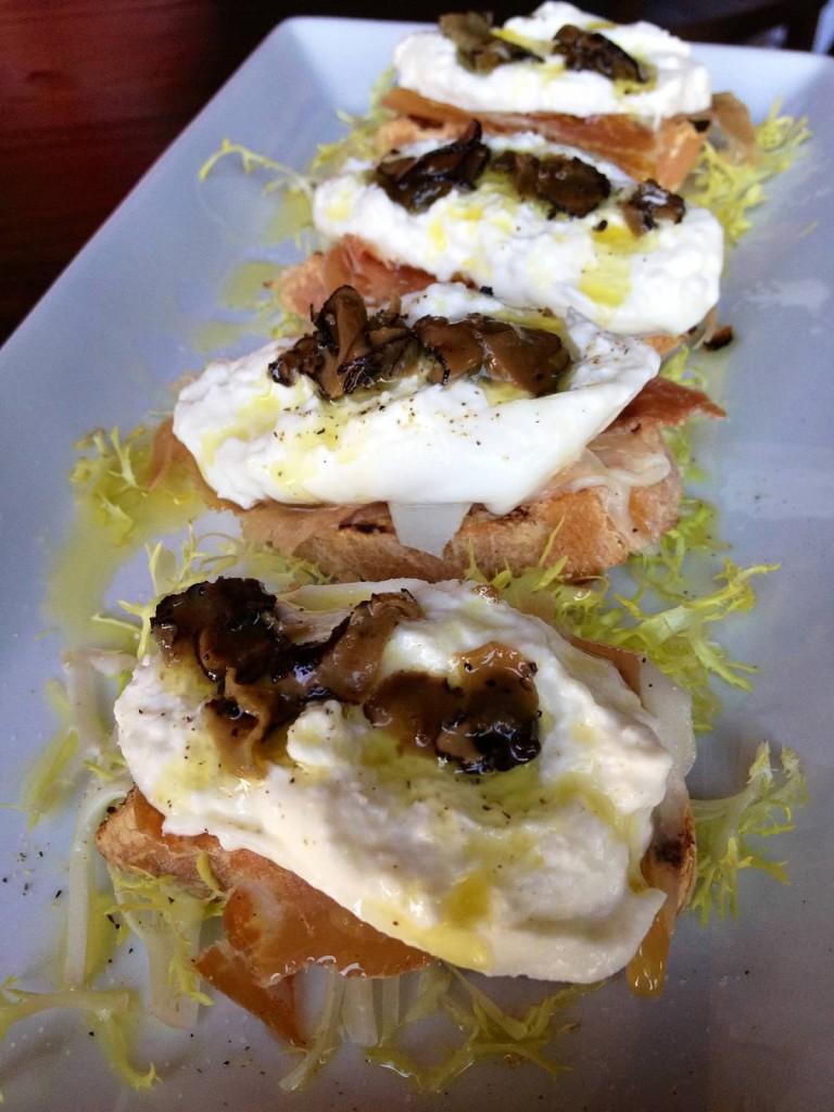 Crostini Di Burrata--Burrata Crostini with black truffles and Parma proscuitto