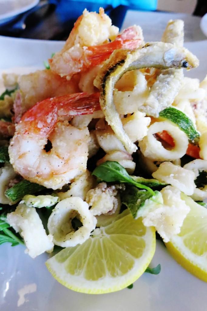 Frittura Mista--fried calamari, shrimp, zucchini, and carrots