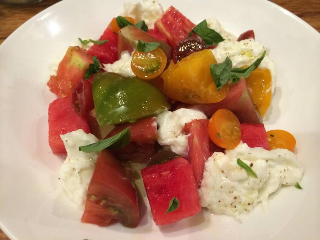 Heirloom Tomato--gioia burrata, watermelon, basil, olive oil