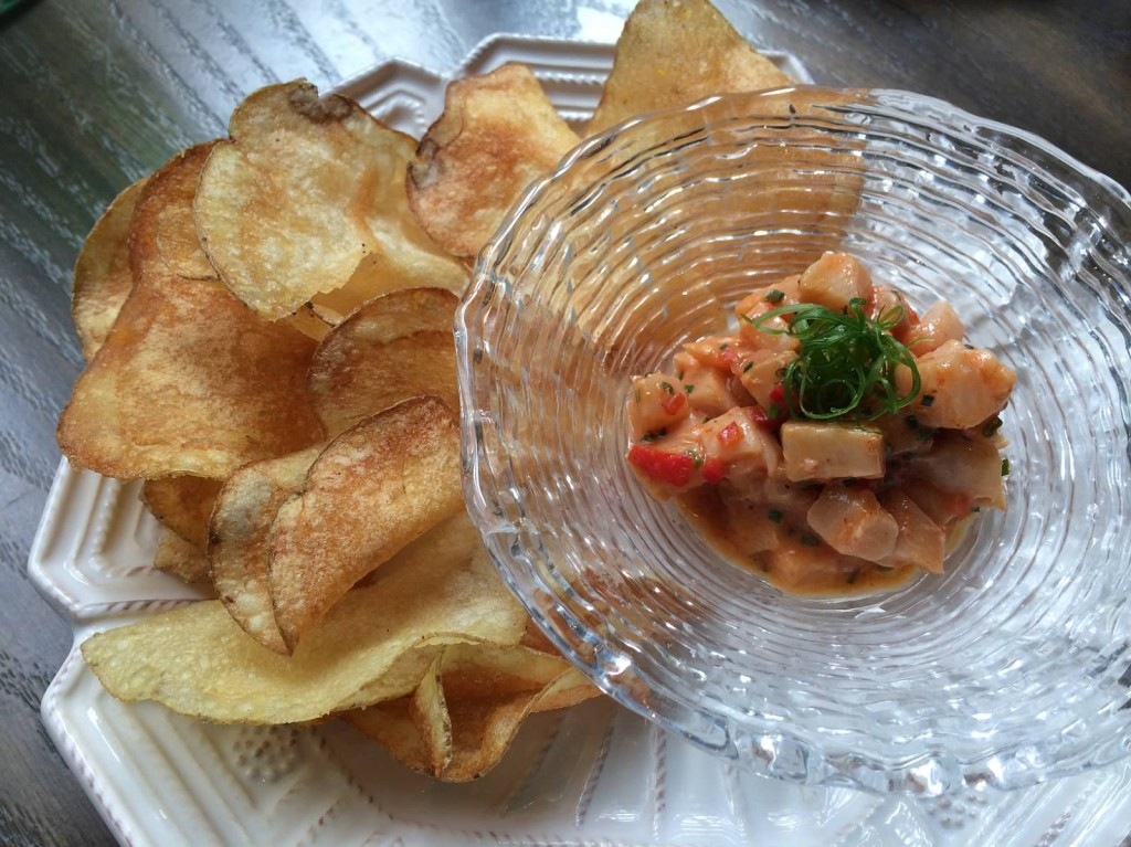 Kampachi Ceviche--Mike Lay's Ginger Beer, Potato Chips