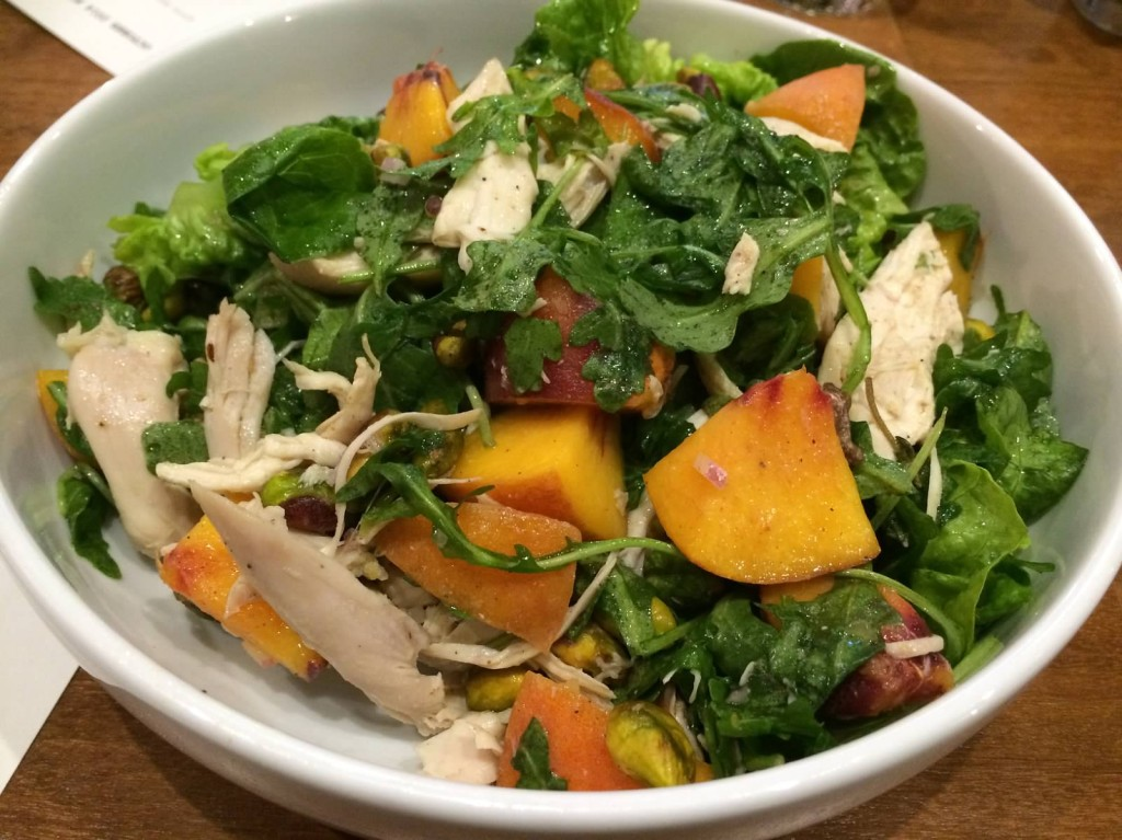 Little Gems Salad with Rotisserie Chicken--arugula, peaches, pistachio, lemon, olive oil