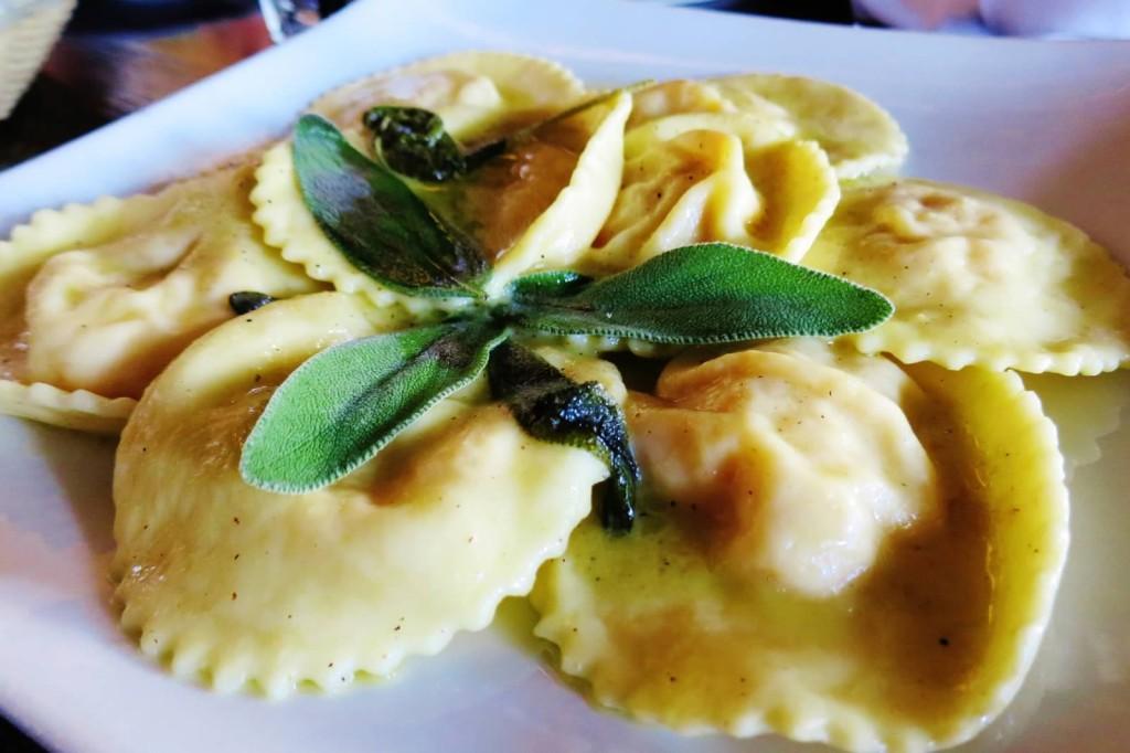 Ravioli di Zucca--pumpkin and ricotta cheese ravioli in butter and sage sauce.