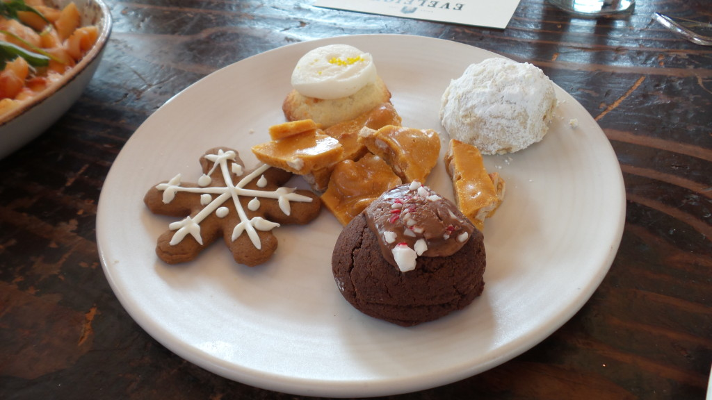 Holiday Cookie Plate--gingerbread snowflake, cashew brittle, lemon drop, walnut snowball, chocolate peppermint kiss.