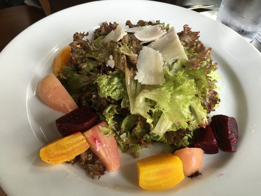 Roasted Beet Salad. lolla rosa lettuce, roasted beets. raw goat cheese, sherry vinaigrette.