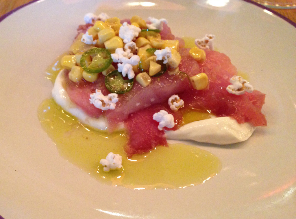 Albacore. Corn,crema, and popped sorghum. A dish by Jenn Louis (Lincoln Restaurant. Portland, OR)