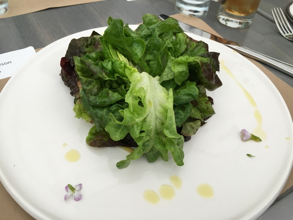 "Salade Verte. ""The garden of"" farms market greens, preserved lemon vinaigrette."