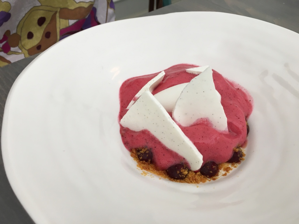 Cassis et Meringue. Black currant foam, buttermilk sorbet, brittle, micro basil.
