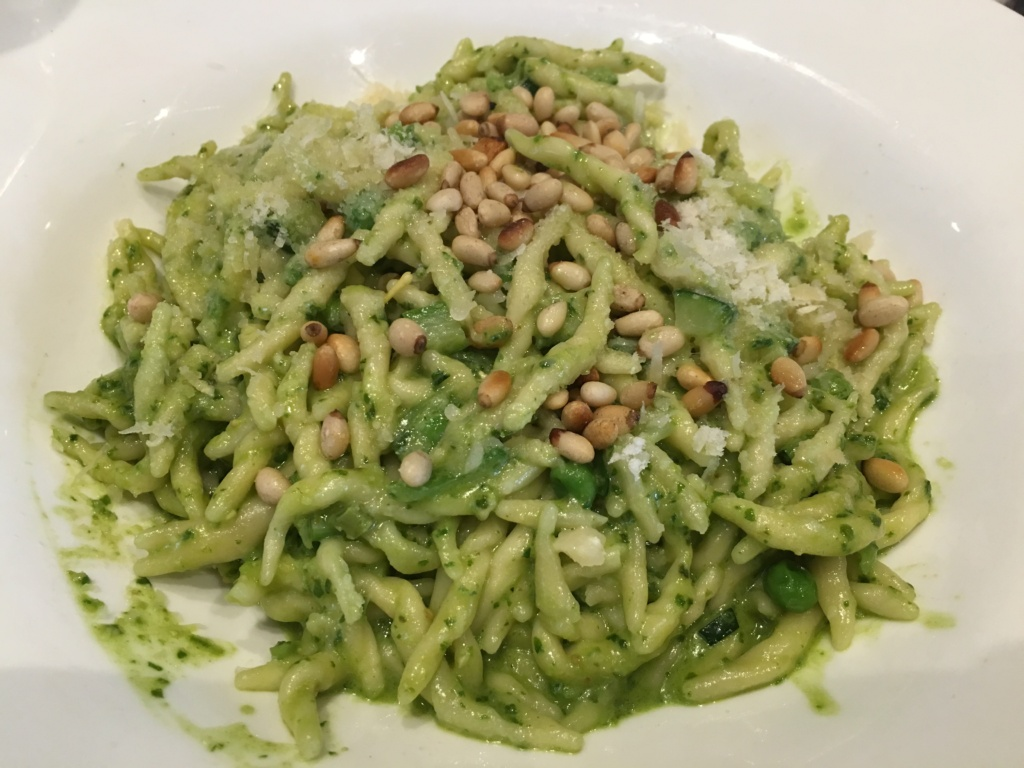Pasta with Pesto Sauce. Basil pesto, vegetables, toasted pine nuts.