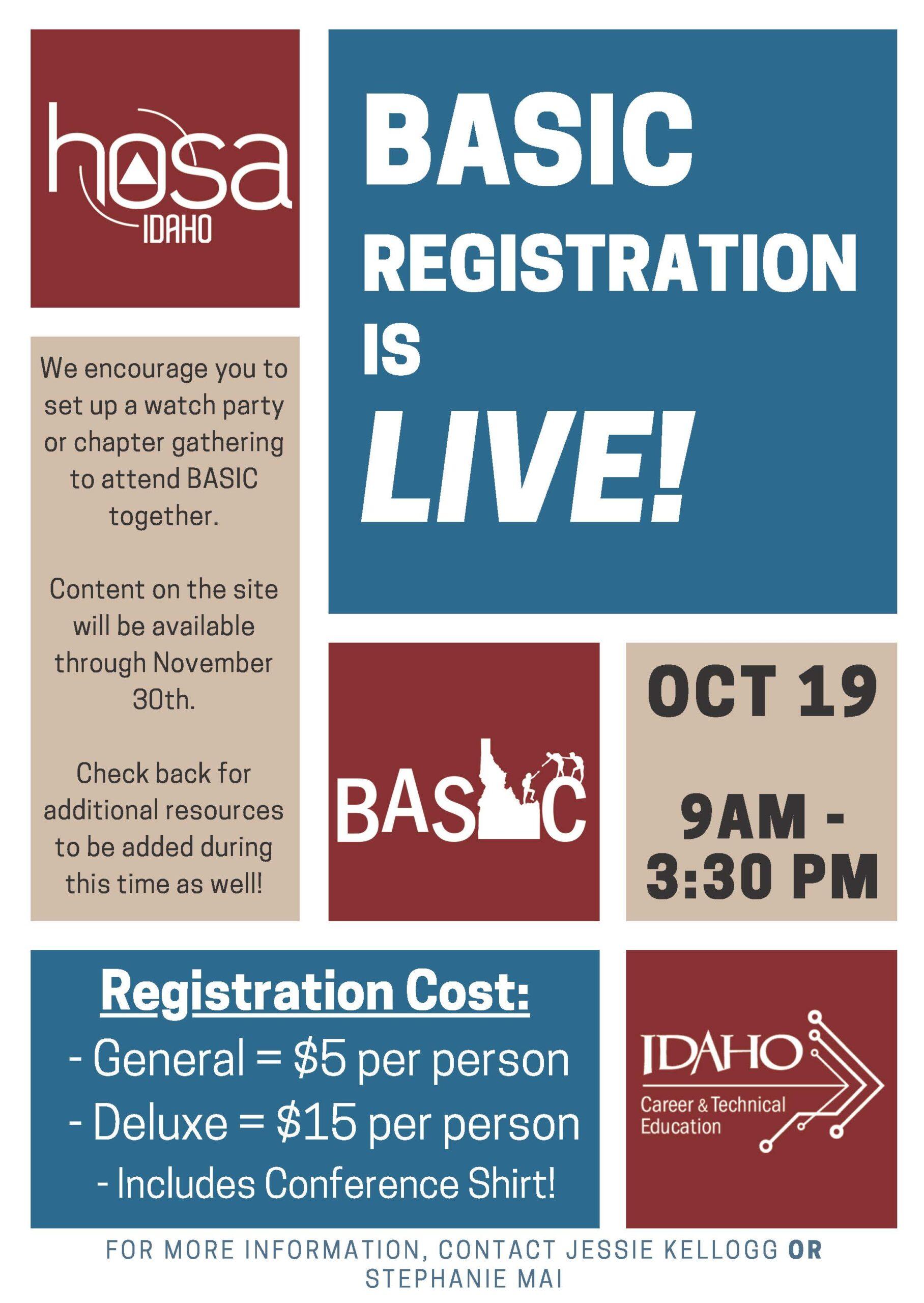 HOSA BASIC Registration Flyer