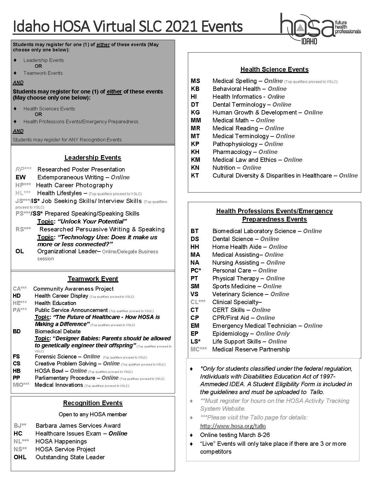 Events List 2021 HOSA vSLC BW