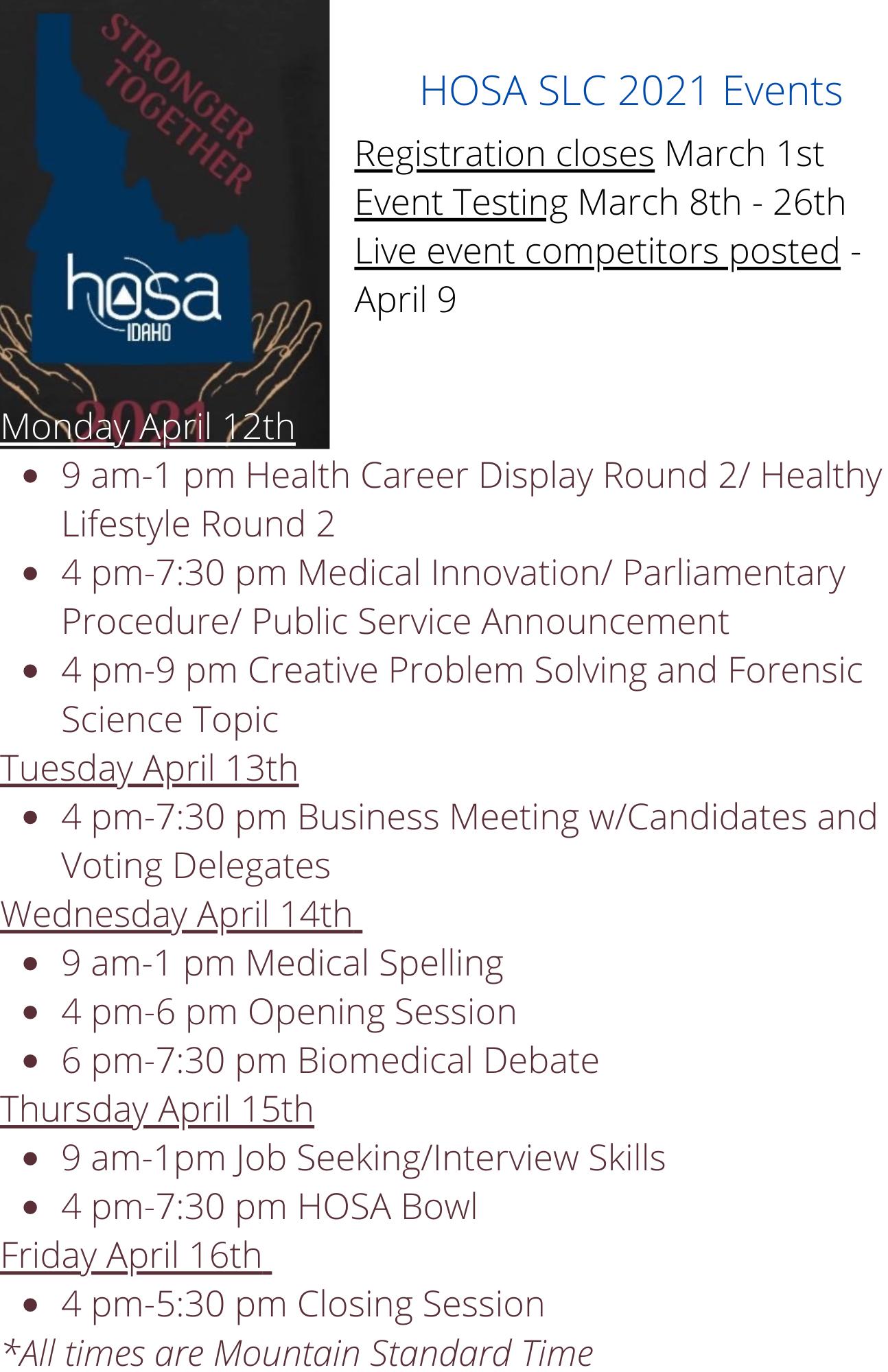 HOSA SLC Event 2021