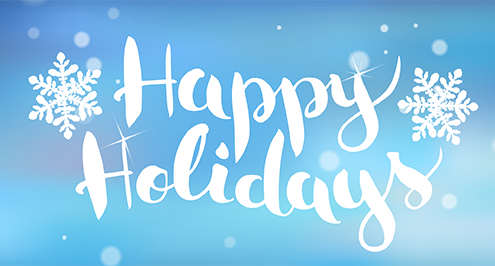 "Two snow flakes surround a text saying ""happy holidays"". The colors reflect a cold holiday morning"