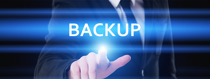 Businessman pressing data recovery services button on virtual screens.