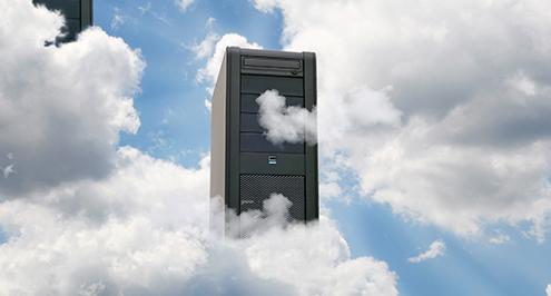 Computer in a cloudy sky symbolizing software backup.