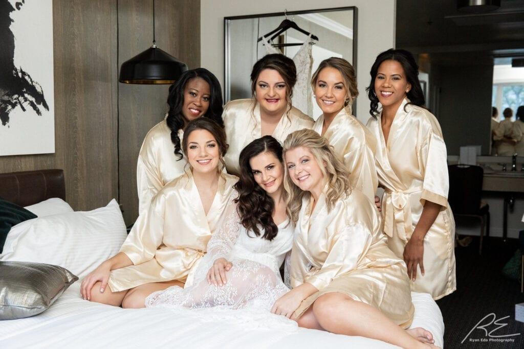 Philadelphia bridesmaids at Logan Hotel gorgeous updos and makeup