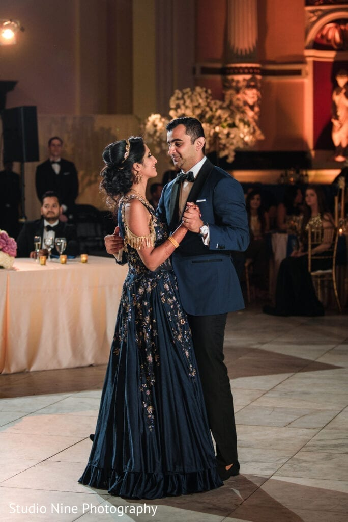 Beautiful Hindu bride and groom first dance