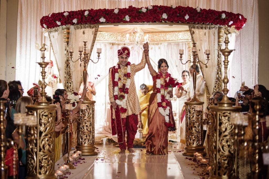 Indian bride and groom at theirwedding