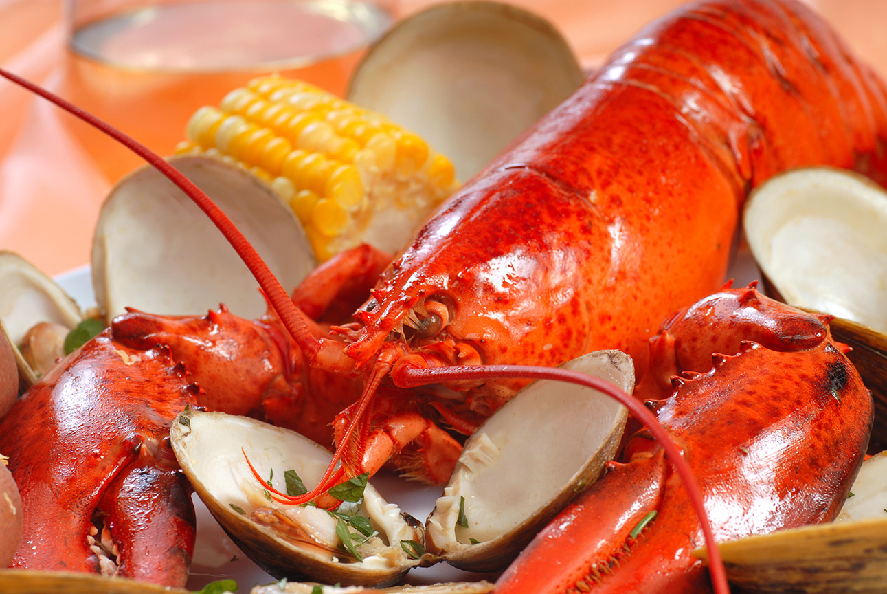Bar Harbor Seafood Boiled lobster dinner with clams and corn