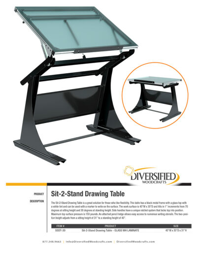 Diversified Woodcrafts Sit-2-Stand Drawing Table