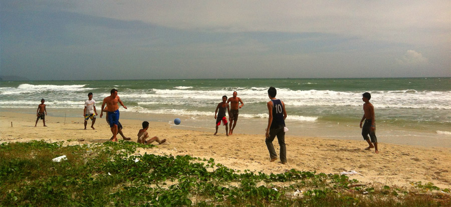 My brother Andy and I playing beach soccer with at-risk youth in Cambodia