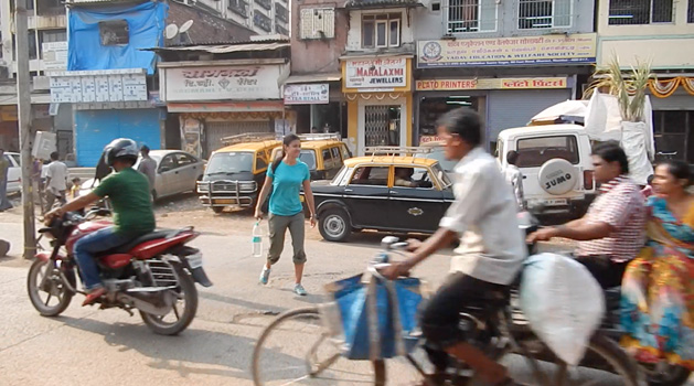 Alissa dodging the crazy traffic in Mumbai.