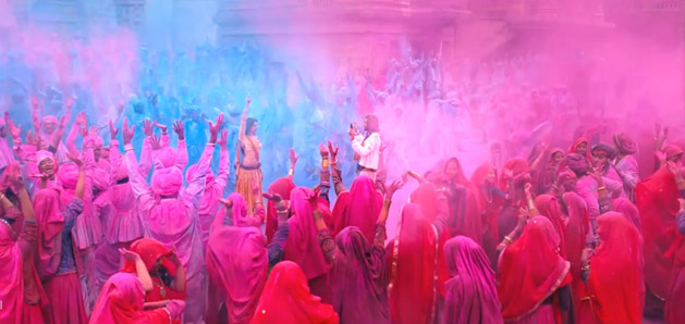 Scene depicting the two main characters flirting during India's Holi Festival of Colours