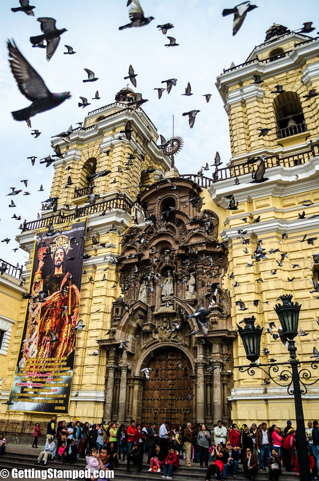 From Adam: This beautiful church in Lima, Peru has more than a few pigeons on its grounds and as naughty little boys wait to enter the church they like to scare this mass of birds up into the air. For whatever reason they all fly in a flock around the small square as locals and tourist a like cover their heads and hope they don't get pooped on!