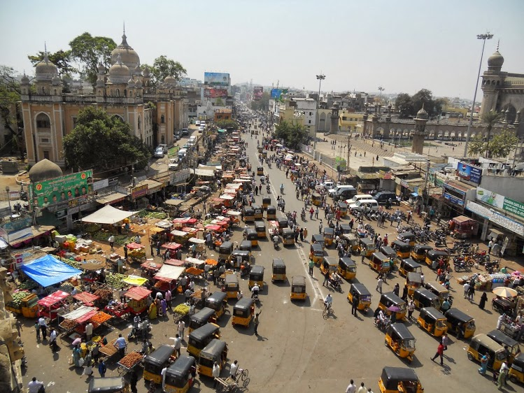 From Jennifer: For me, Crowds = India. Here's my entry: The crowds in Hyderabad, India observed by getting above the fray at the Charminar.