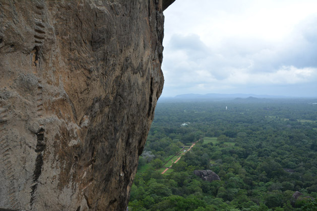 "The old ""stairs"" of Sigiriya Rock."