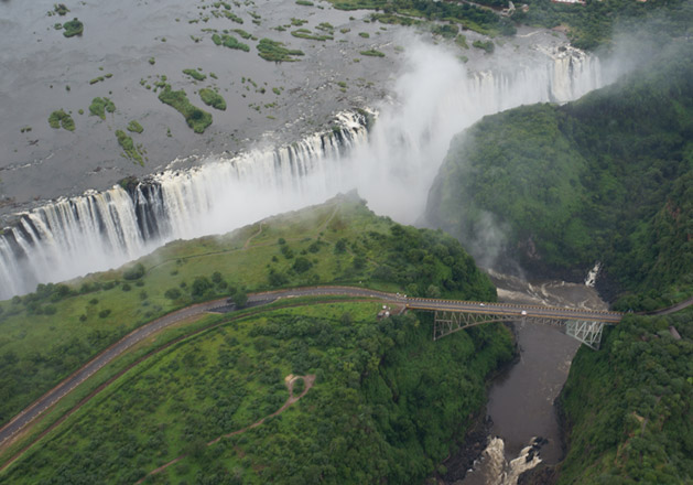 An aerial shot taken from a helicopter by Bill, another Oasis passenger on our trip.  The bridge is the Victoria Falls Bridge, the one I will be jumping off tomorrow!