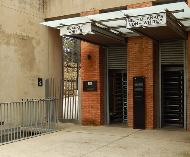 The main entrance to the Apartheid Museum.